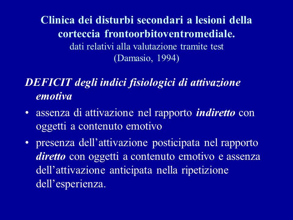 Clinica dei disturbi secondari a lesioni della corteccia frontoorbitoventromediale. dati relativi alla valutazione tramite test (Damasio, 1994)
