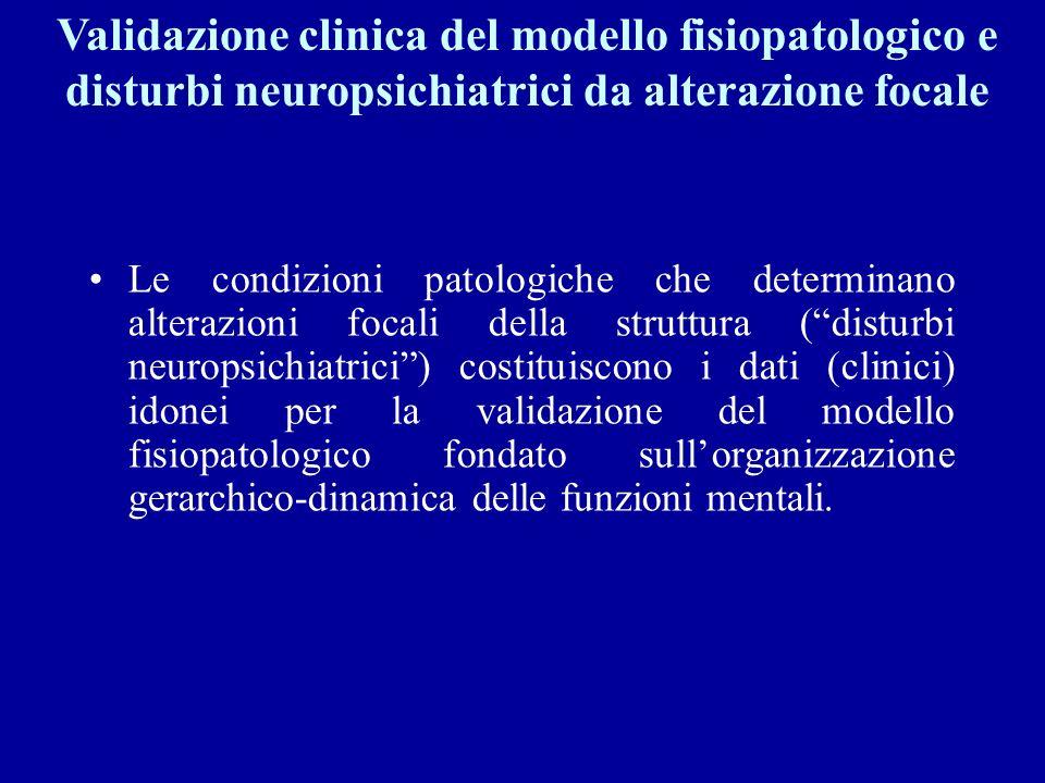 Validazione clinica del modello fisiopatologico e disturbi neuropsichiatrici da alterazione focale
