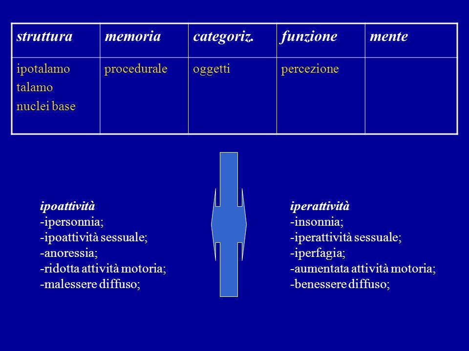struttura memoria categoriz. funzione mente ipotalamo talamo