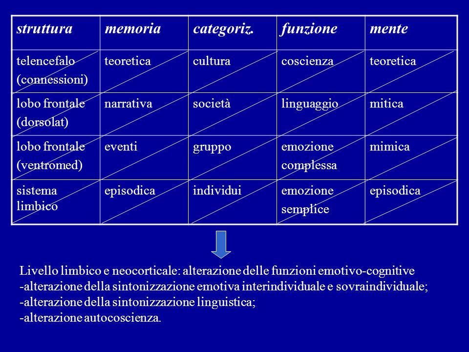 struttura memoria categoriz. funzione mente telencefalo (connessioni)