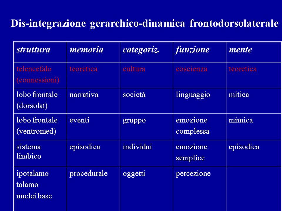 Dis-integrazione gerarchico-dinamica frontodorsolaterale