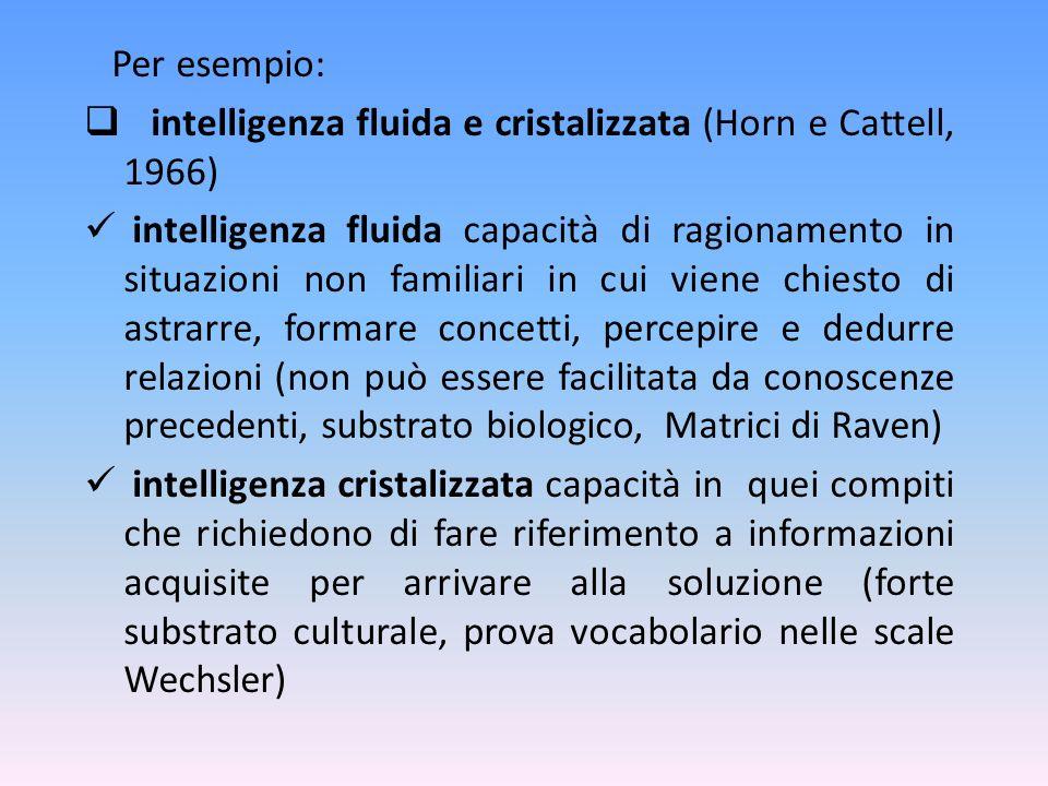 Per esempio: intelligenza fluida e cristalizzata (Horn e Cattell, 1966)