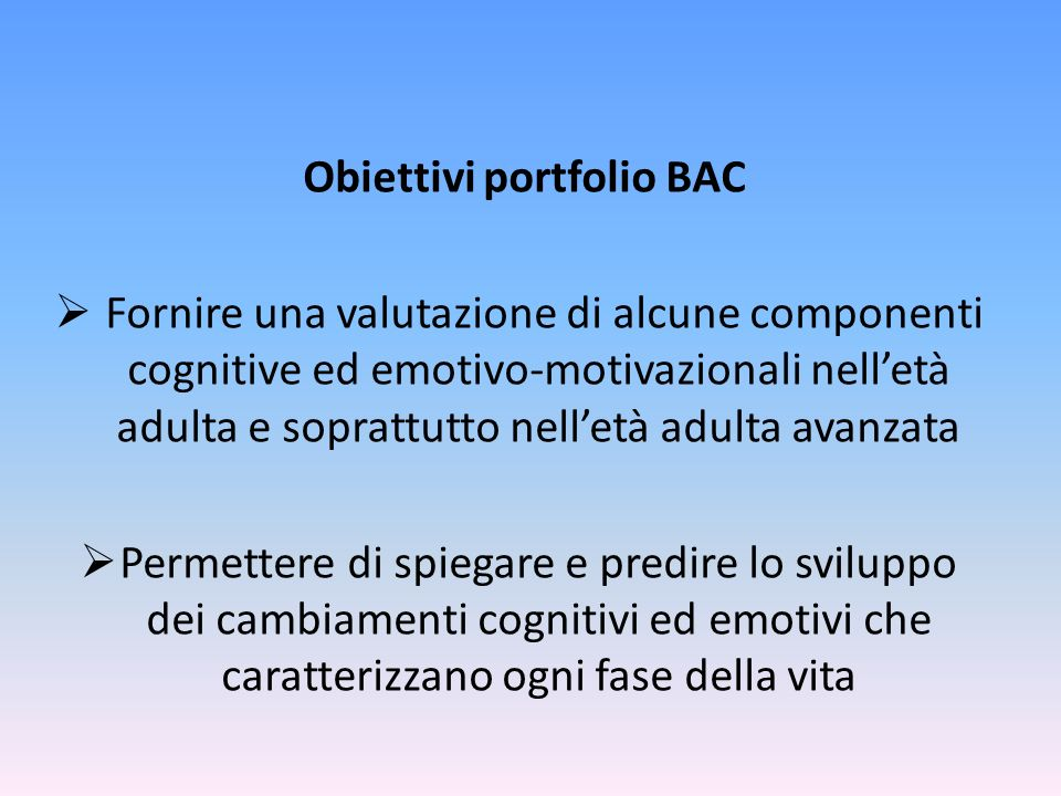 Obiettivi portfolio BAC