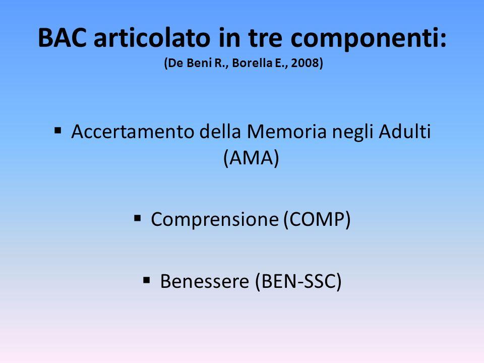 BAC articolato in tre componenti: (De Beni R., Borella E., 2008)