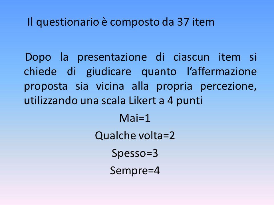 Il questionario è composto da 37 item Dopo la presentazione di ciascun item si chiede di giudicare quanto l'affermazione proposta sia vicina alla propria percezione, utilizzando una scala Likert a 4 punti Mai=1 Qualche volta=2 Spesso=3 Sempre=4