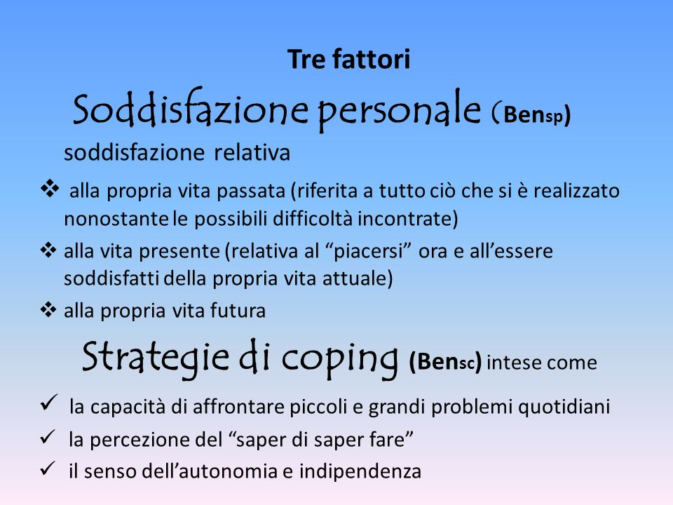 Strategie di coping (Bensc) intese come