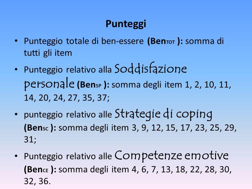 Punteggi Punteggio totale di ben-essere (BenTOT ): somma di tutti gli item.