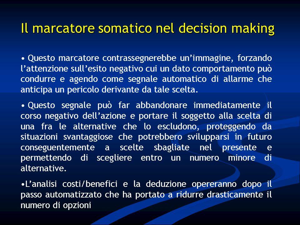 Il marcatore somatico nel decision making