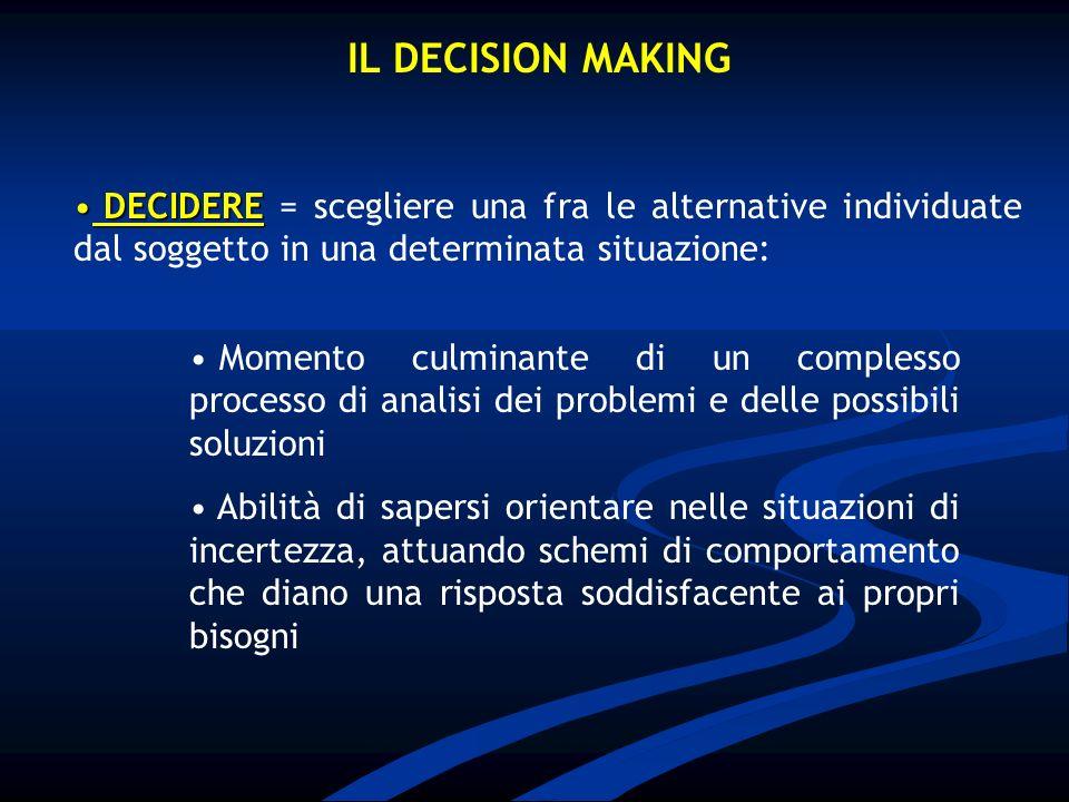 IL DECISION MAKING DECIDERE = scegliere una fra le alternative individuate dal soggetto in una determinata situazione: