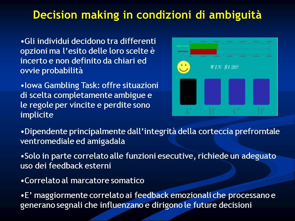 Decision making in condizioni di ambiguità