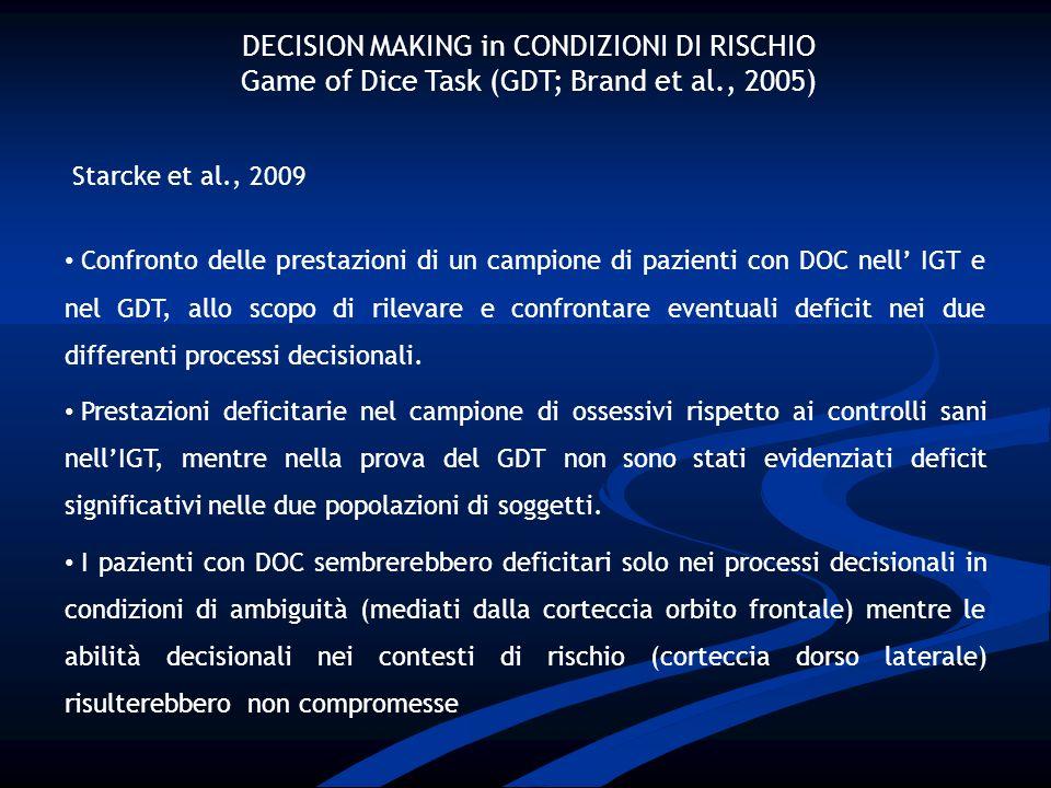 DECISION MAKING in CONDIZIONI DI RISCHIO