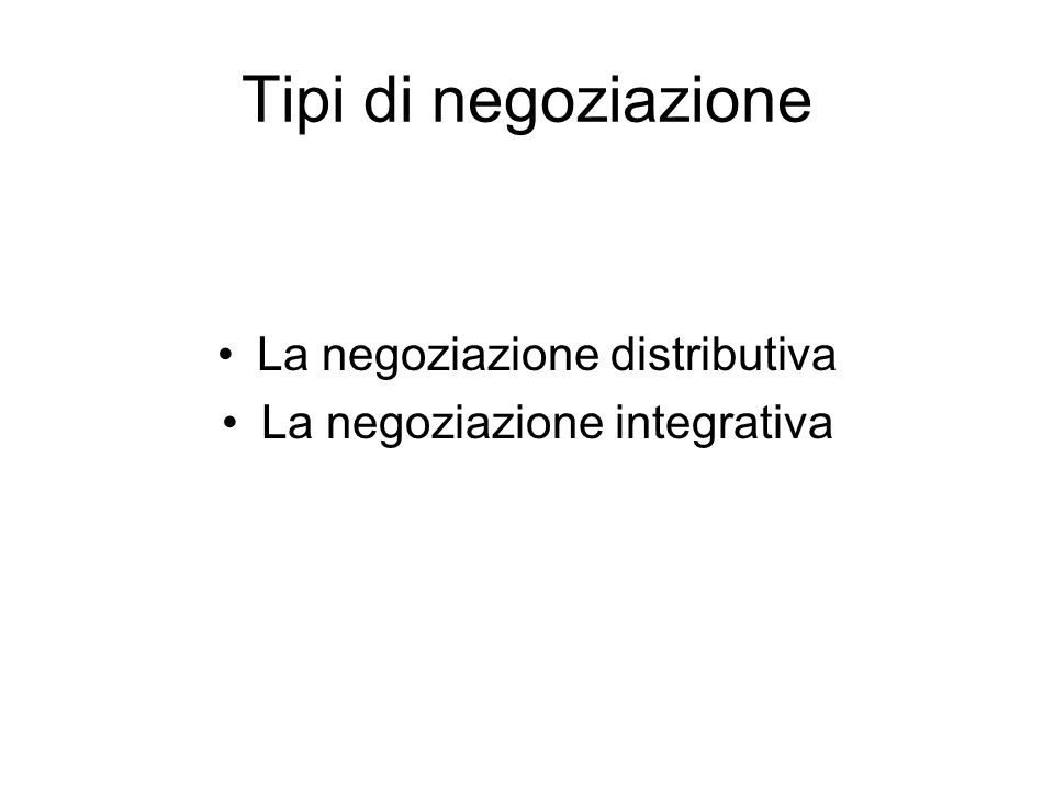 Tipi di negoziazione La negoziazione distributiva