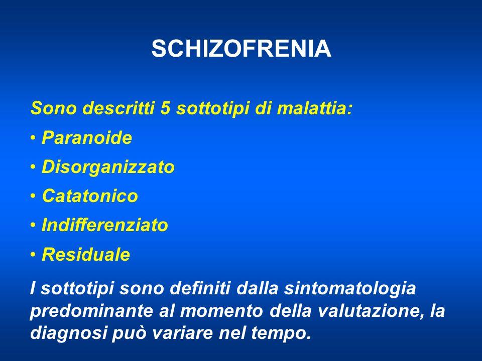 SCHIZOFRENIA Sono descritti 5 sottotipi di malattia: Paranoide