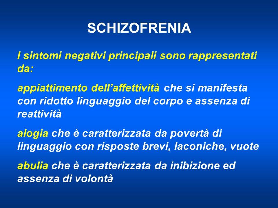 SCHIZOFRENIA I sintomi negativi principali sono rappresentati da: