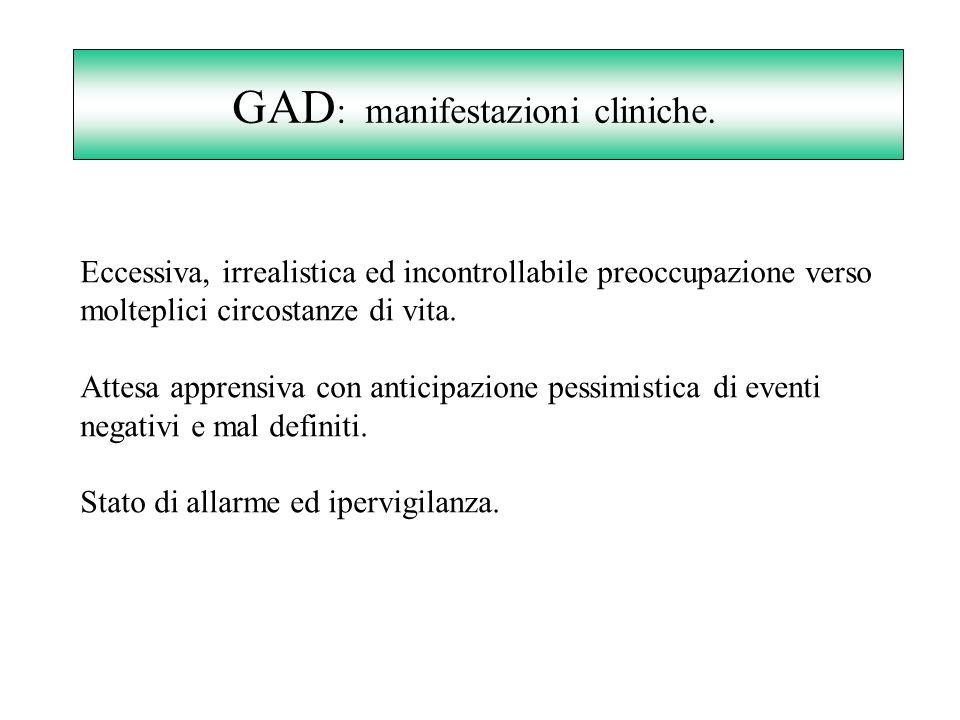 GAD: manifestazioni cliniche.
