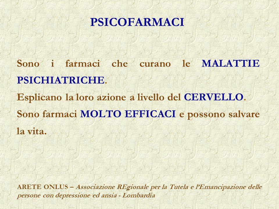 PSICOFARMACI Sono i farmaci che curano le MALATTIE PSICHIATRICHE.