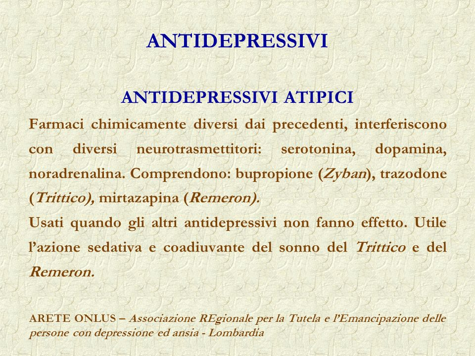 ANTIDEPRESSIVI ATIPICI