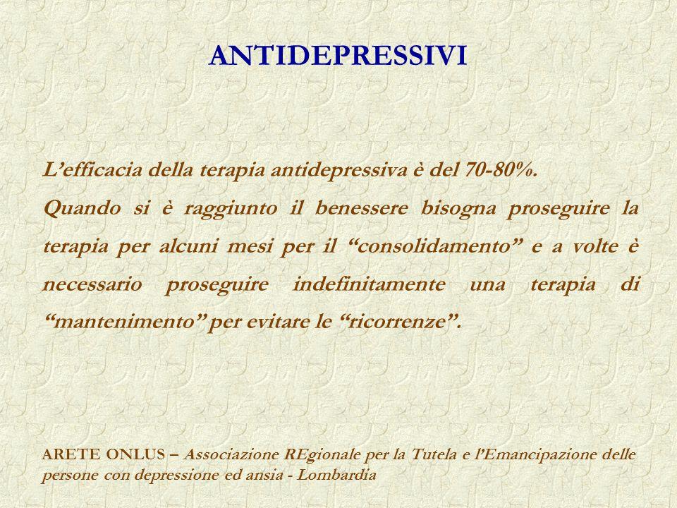 ANTIDEPRESSIVI L'efficacia della terapia antidepressiva è del 70-80%.