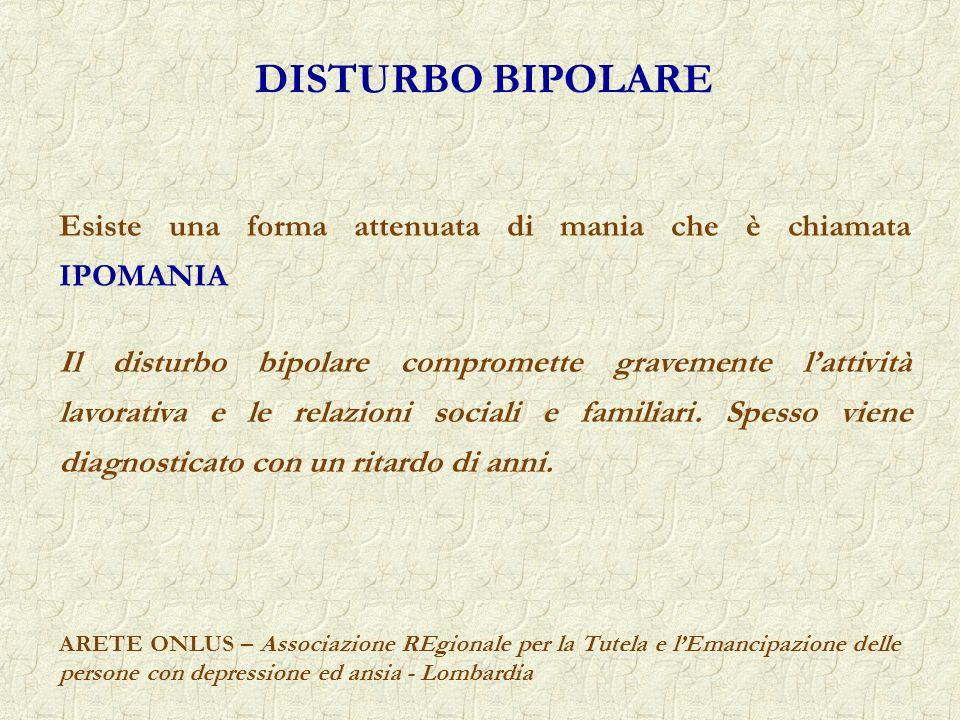 DISTURBO BIPOLARE Esiste una forma attenuata di mania che è chiamata IPOMANIA.