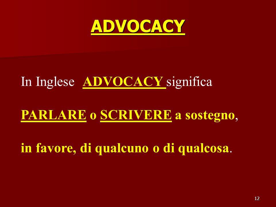 ADVOCACY In Inglese ADVOCACY significa PARLARE o SCRIVERE a sostegno,