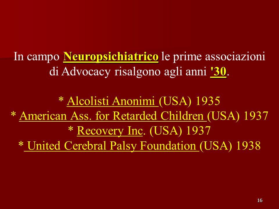In campo Neuropsichiatrico le prime associazioni