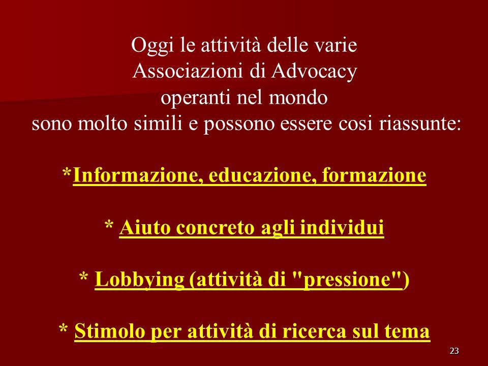 Oggi le attività delle varie Associazioni di Advocacy