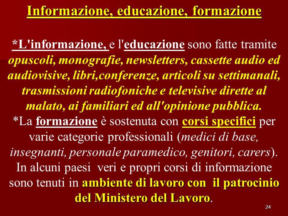 Informazione, educazione, formazione