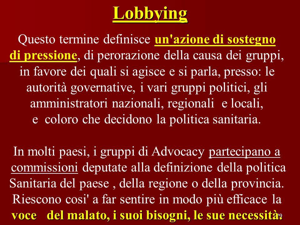 Lobbying Questo termine definisce un azione di sostegno