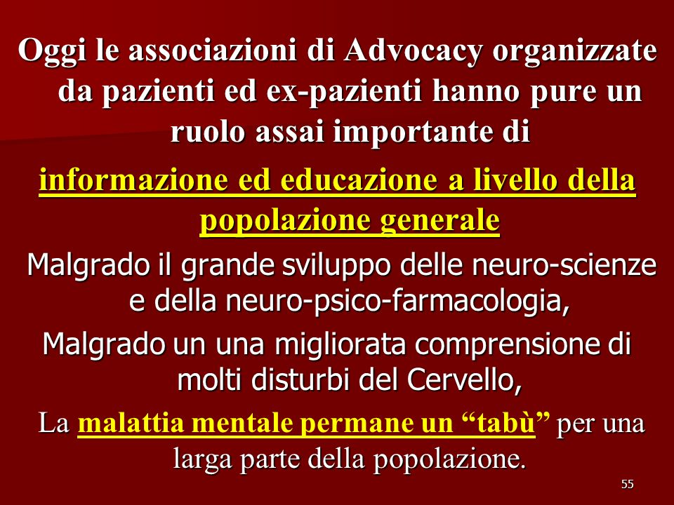 informazione ed educazione a livello della popolazione generale