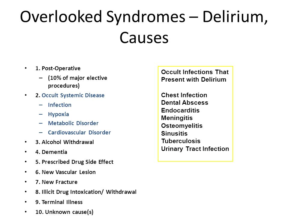 Overlooked Syndromes – Delirium, Causes