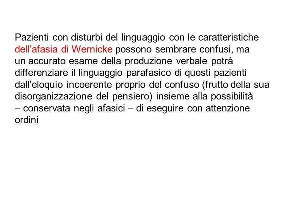 Pazienti con disturbi del linguaggio con le caratteristiche