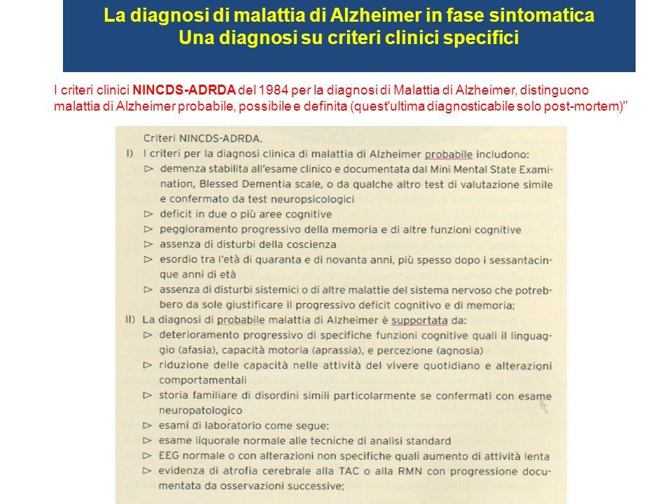 La diagnosi di malattia di Alzheimer in fase sintomatica