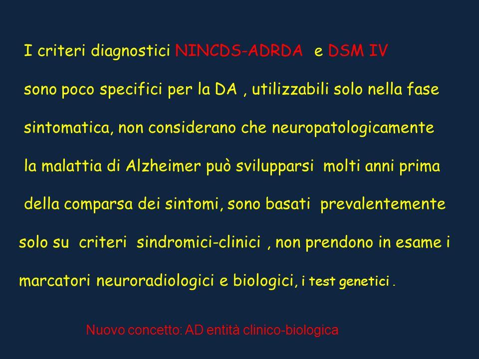 I criteri diagnostici NINCDS-ADRDA e DSM IV