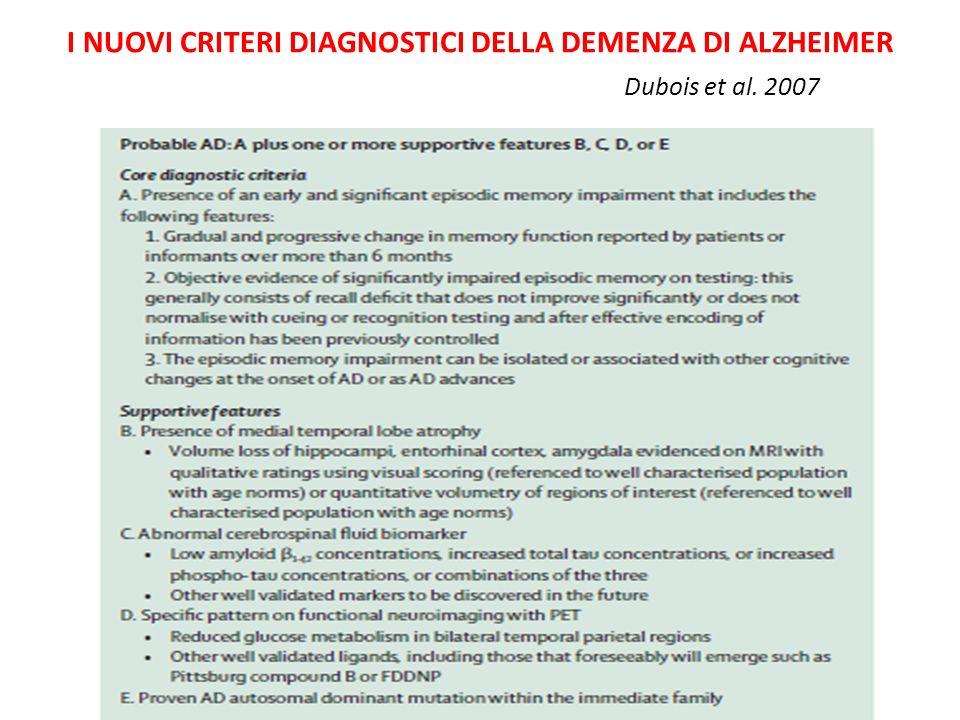 I NUOVI CRITERI DIAGNOSTICI DELLA DEMENZA DI ALZHEIMER Dubois et al