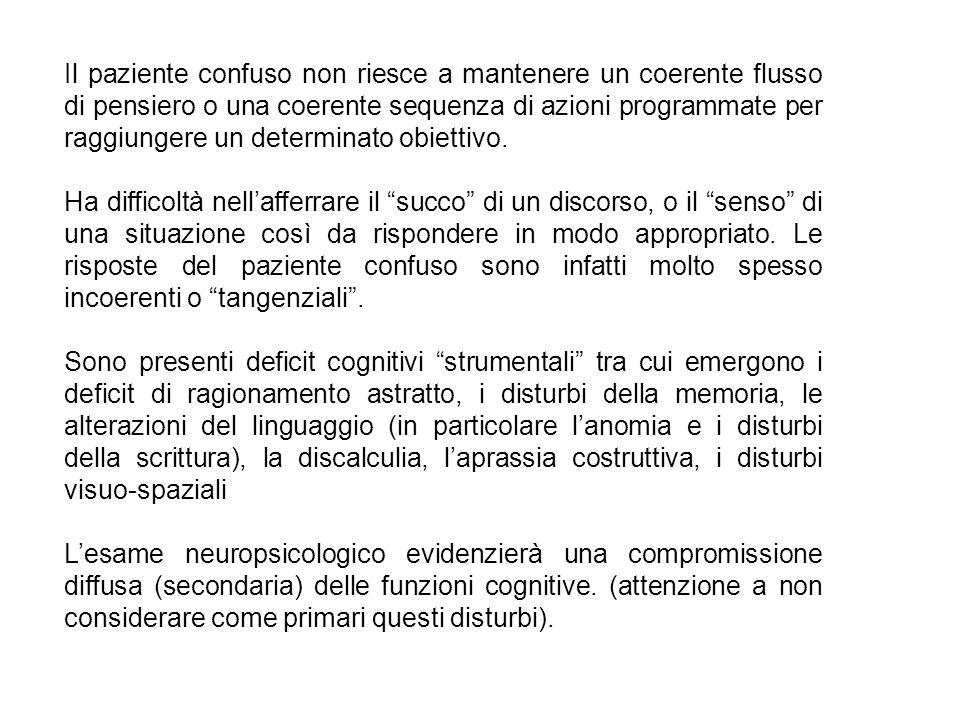 Il paziente confuso non riesce a mantenere un coerente flusso di pensiero o una coerente sequenza di azioni programmate per raggiungere un determinato obiettivo.
