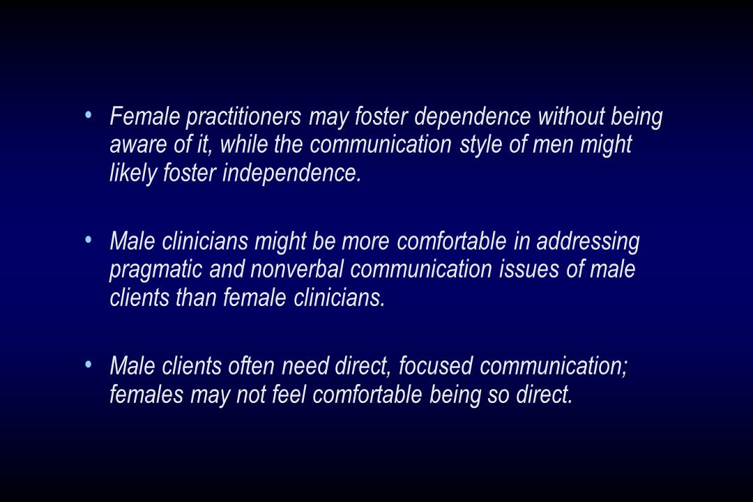 Female practitioners may foster dependence without being aware of it, while the communication style of men might likely foster independence.