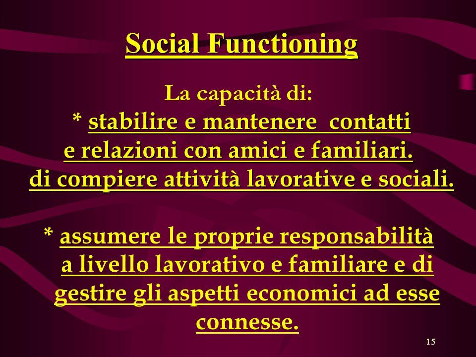 Social Functioning La capacità di: * stabilire e mantenere contatti