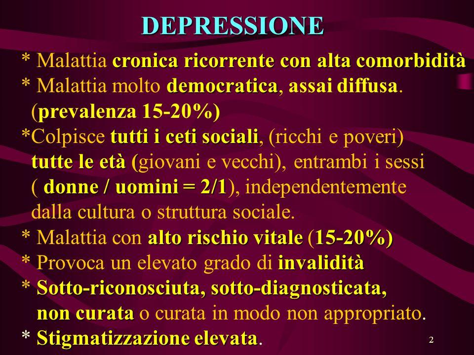 DEPRESSIONE * Malattia cronica ricorrente con alta comorbidità