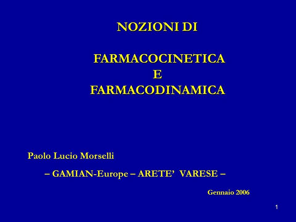 NOZIONI DI FARMACOCINETICA E FARMACODINAMICA