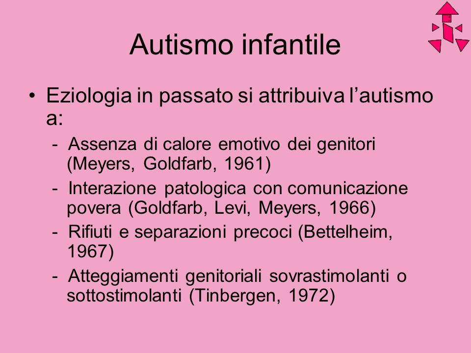 Autismo infantile Eziologia in passato si attribuiva l'autismo a: