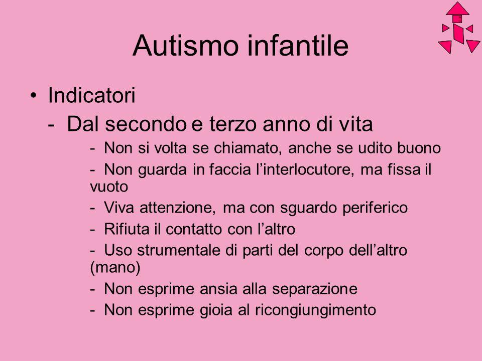 Autismo infantile Indicatori - Dal secondo e terzo anno di vita
