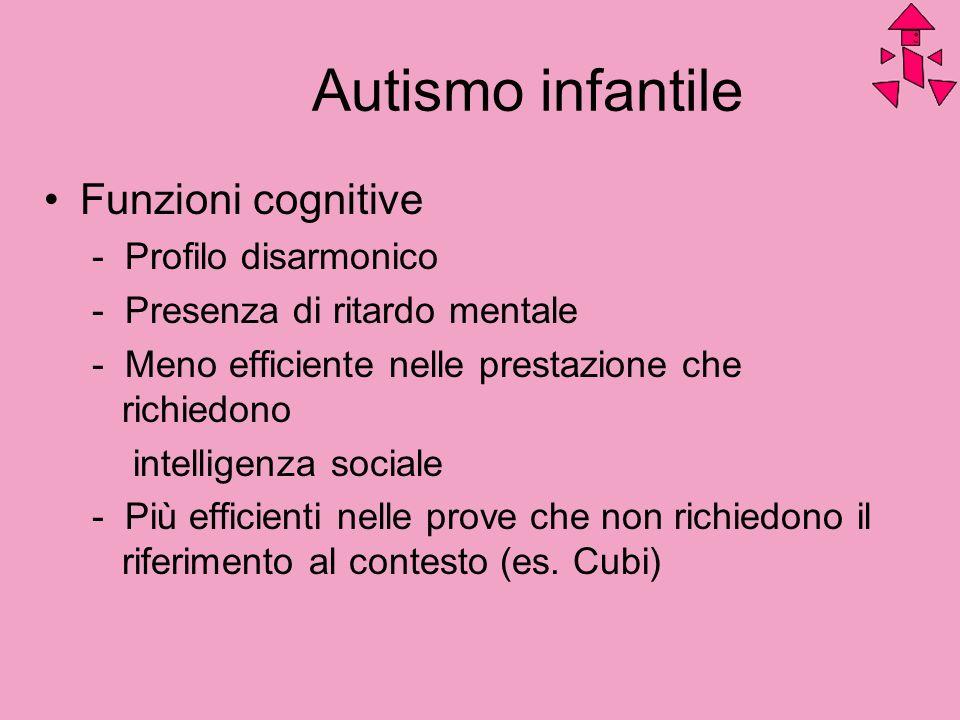 Autismo infantile Funzioni cognitive - Profilo disarmonico