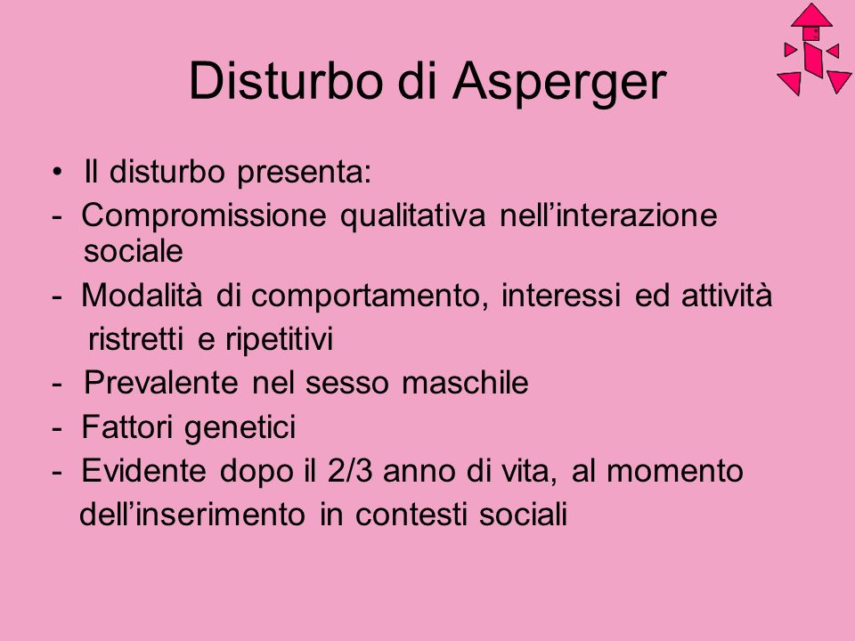 Disturbo di Asperger Il disturbo presenta: