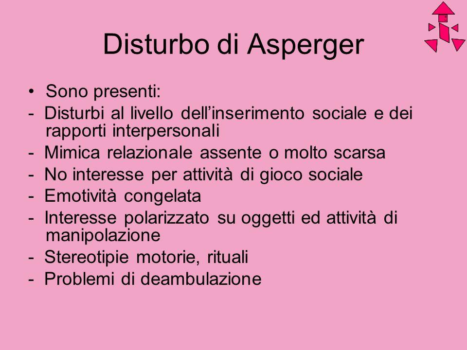 Disturbo di Asperger Sono presenti: