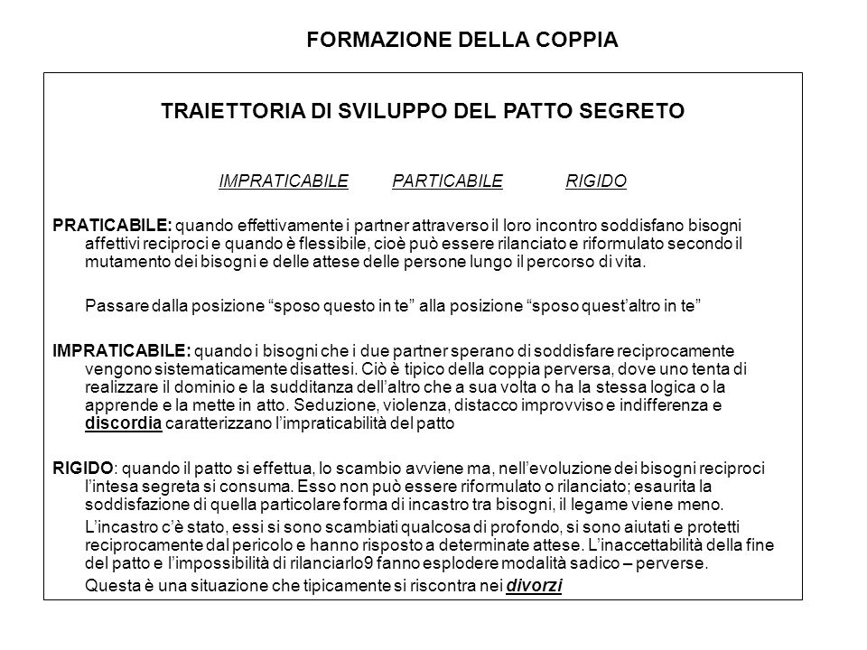 FORMAZIONE DELLA COPPIA TRAIETTORIA DI SVILUPPO DEL PATTO SEGRETO