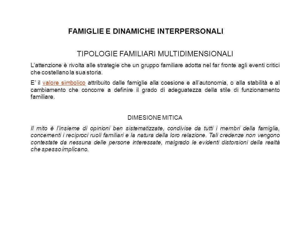 TIPOLOGIE FAMILIARI MULTIDIMENSIONALI