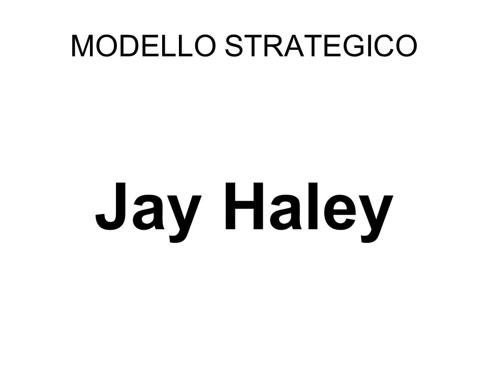 MODELLO STRATEGICO Jay Haley