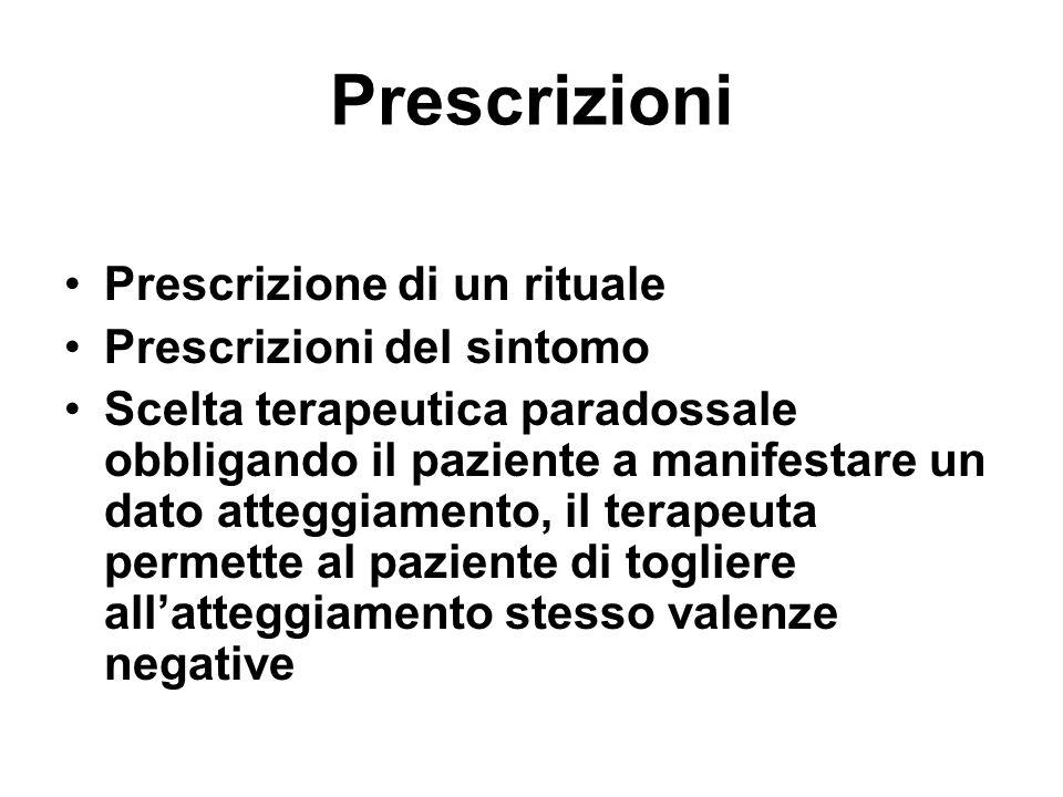 Prescrizioni Prescrizione di un rituale Prescrizioni del sintomo