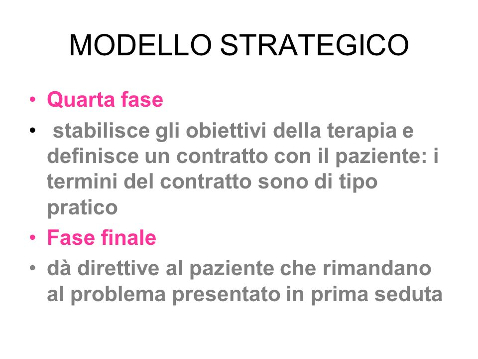 MODELLO STRATEGICO Quarta fase