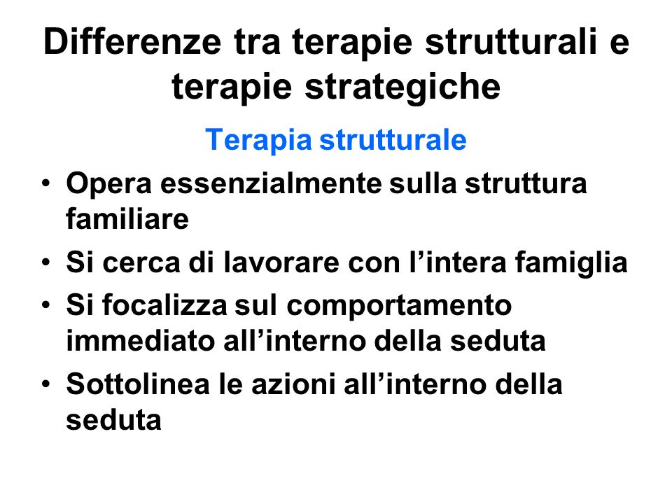 Differenze tra terapie strutturali e terapie strategiche